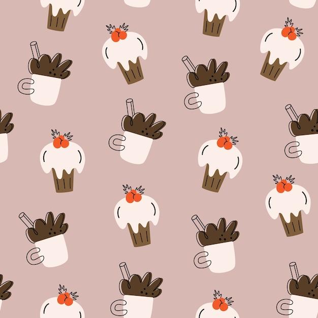 Natale seamless pattern. cacao, cupcake. semplice disegnato a mano. Vettore Premium