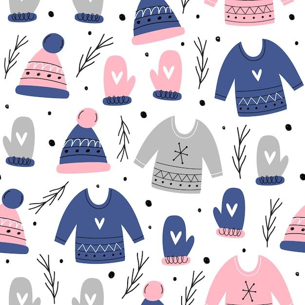 Natale seamless pattern. semplice disegnato a mano. Vettore Premium