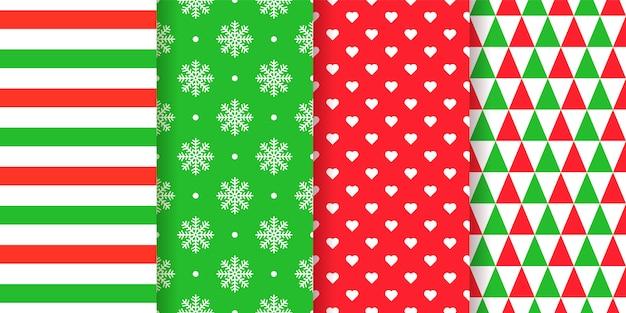 Natale seamless pattern. natale, anno nuovo sfondo. . trama di vacanza. impostare stampe tessili astratte e geometriche festive con strisce, fiocchi di neve, cuori, triangoli. illustrazione verde rosso Vettore Premium