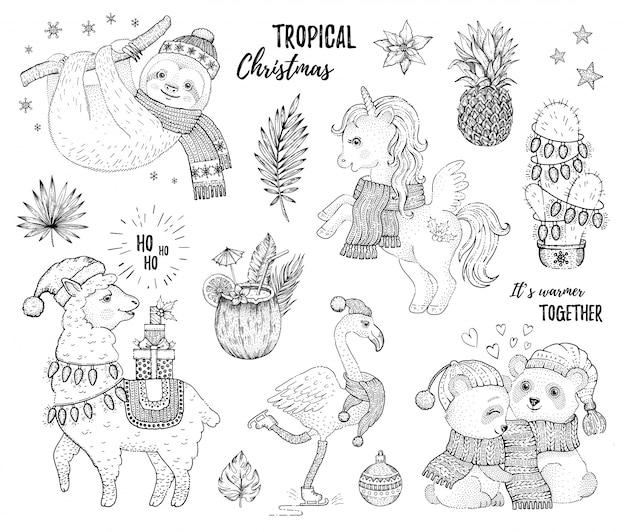 Insieme di natale degli animali tropicali di schizzo. Vettore Premium