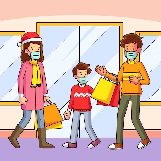 Scena dello shopping natalizio con la famiglia che indossa maschere Vettore Premium