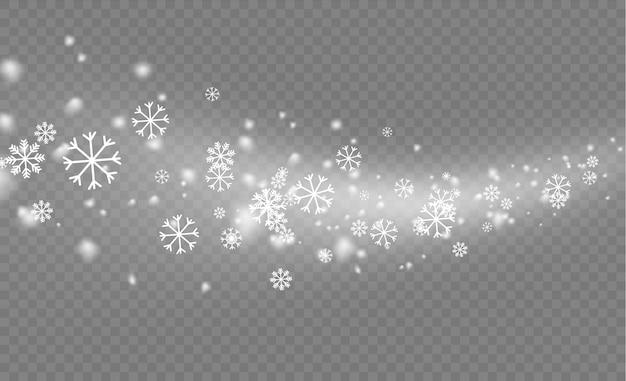 Fiocco di neve di natale. nevicate, fiocchi di neve in diverse forme e forme. molti elementi di fiocchi freddi bianchi su sfondo trasparente. trama di nevicate bianche. Vettore Premium