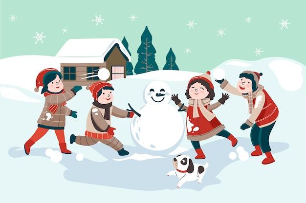 Scena di neve di natale con i bambini Vettore Premium