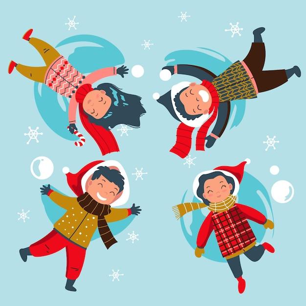Scena di neve di natale con i bambini che si divertono Vettore Premium