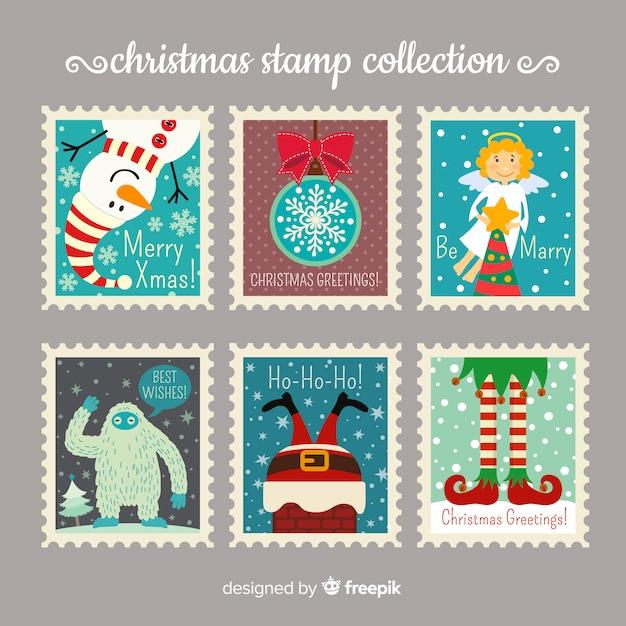 Collezione di francobolli di natale Vettore Premium
