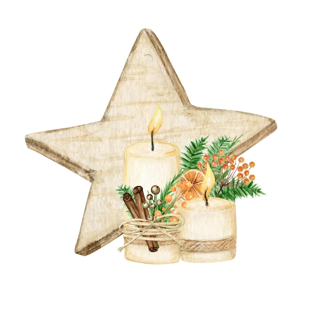 Stella di natale decorazione in legno stile boho con candela. illustrazione di inverno dell'acquerello isolato su priorità bassa bianca. Vettore Premium
