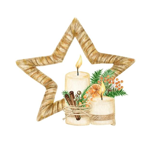 Stella di natale decorazione in legno stile boho con candela. illustrazione del nuovo anno di inverno dell'acquerello Vettore Premium