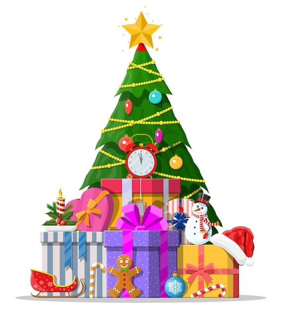Albero di natale decorato con palline colorate, luci di ghirlande, stella d'oro. molte scatole regalo. abete rosso, albero sempreverde. biglietto di auguri, poster festivo. nuovo anno. Vettore Premium