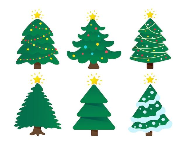 Disegno dell'albero di natale decorato con palla colorata e stella sulla parte superiore. Vettore Premium