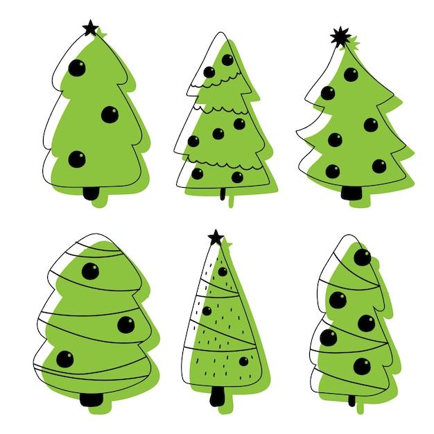 Icone dell'albero di natale messe su una priorità bassa bianca. Vettore Premium
