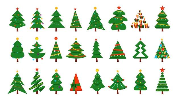 Insieme dell'albero di natale. raccolta di abete verde per la celebrazione di natale e capodanno. illustrazione Vettore Premium