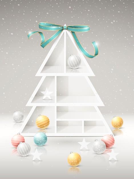 Mensole dell'albero di natale con decorazioni su sfondo innevato Vettore Premium