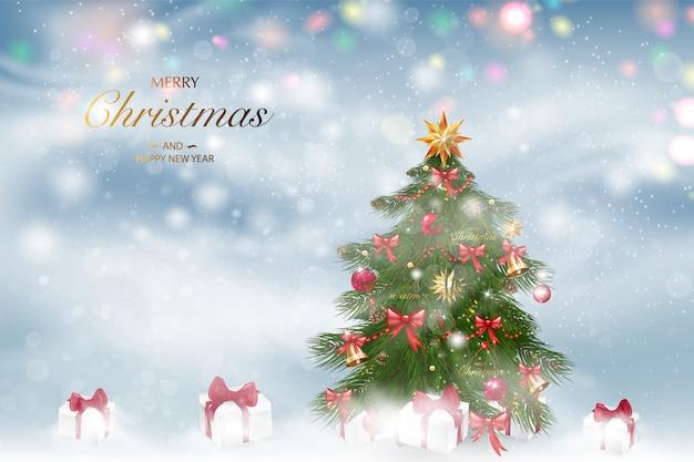 Foto Con La Neve Di Natale.Albero Di Natale Con Decorazioni Natalizie Sfondo Paesaggio Invernale Con La Neve Che Cade Vettore Premium