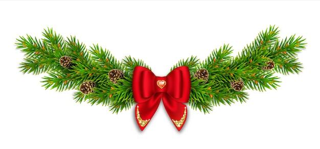Vignetta di natale con rami di abete e coni, fiocco rosso con nastri e glitter oro. pietra rossa a forma di cuore. decorazioni di capodanno per la casa. Vettore Premium
