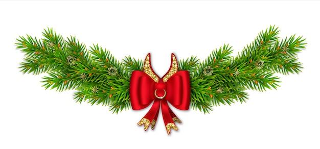 Vignetta di natale con rami di abete, fiocco rosso con nastri e glitter oro. corna di toro comico con anello. Vettore Premium