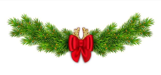 Vignetta di natale con rami di abete, fiocco rosso con nastri e glitter oro. corna di cervo comico. decorazioni di capodanno per la casa. Vettore Premium