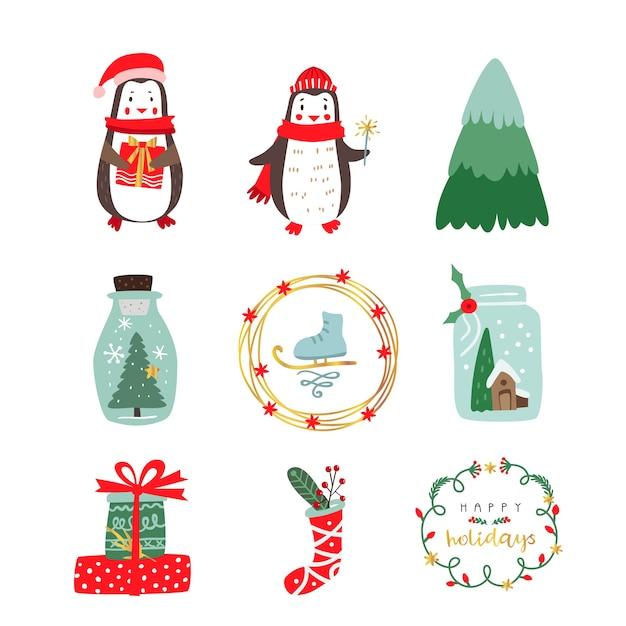 Personaggi e oggetti natalizi invernali. Vettore Premium