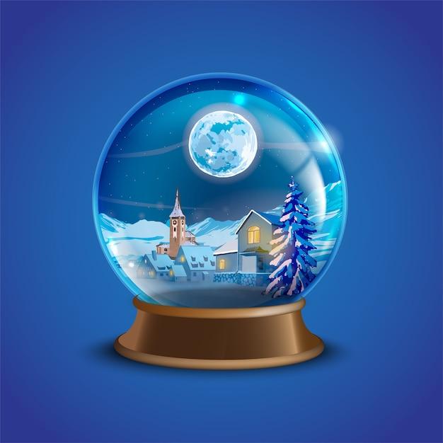 Palla di neve di natale inverno vettoriale con case del villaggio decorate, alberi di pino e luna Vettore Premium
