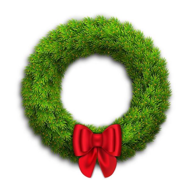 Ghirlanda di natale con rami di abete, fiocco rosso con nastri. decorazioni di capodanno per la casa. Vettore Premium