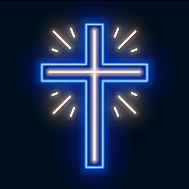 Insegna al neon croce chiesa. simbolo incandescente della crocifissione. Vettore Premium