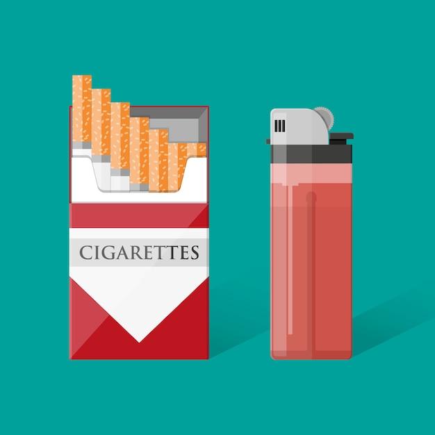 Pacchetto di sigarette con sigarette e accendino Vettore Premium