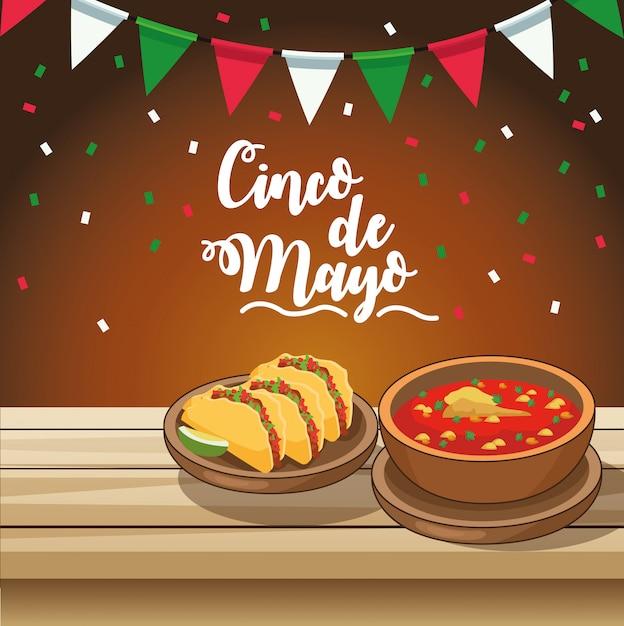 Celebrazione di cinco de mayo con cibo delizioso in tavola Vettore Premium