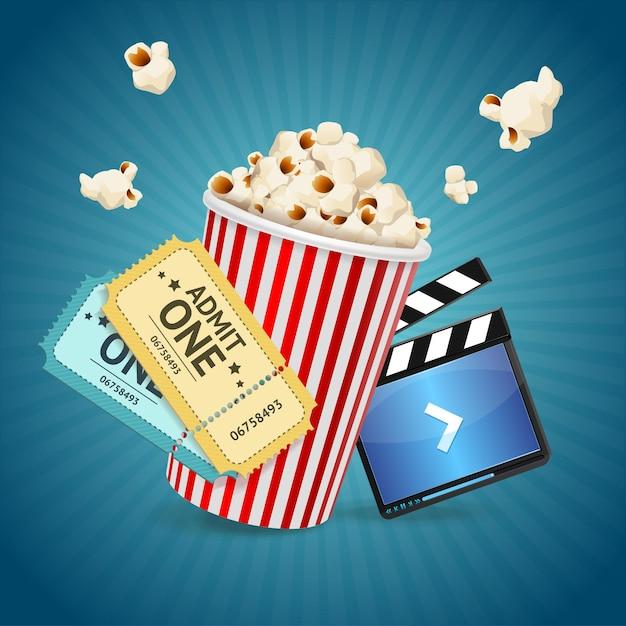 Concetto di cinema. modello di poster con battaglio di pellicola, popcorn, biglietti. Vettore Premium