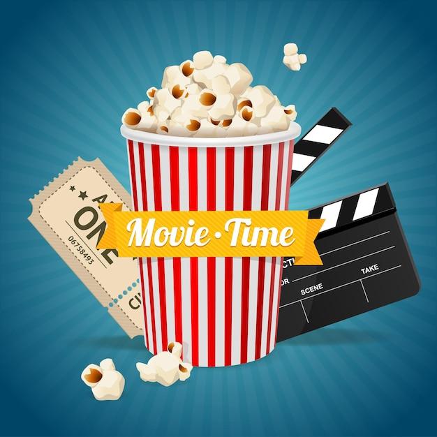 Concetto di cinema e nastro con la scritta al centro. Vettore Premium