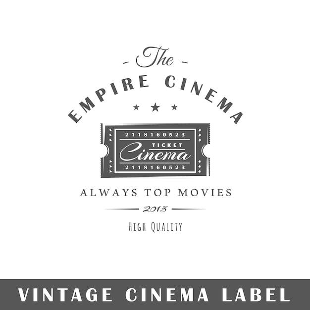 Etichetta del cinema isolata Vettore Premium
