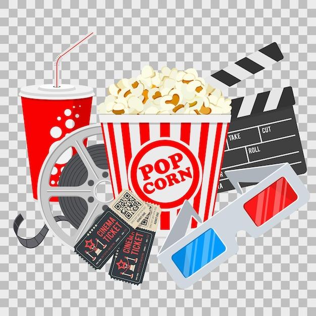Banner di cinema e film con popcorn, biglietti e occhiali 3d isolati su sfondo trasparente Vettore Premium