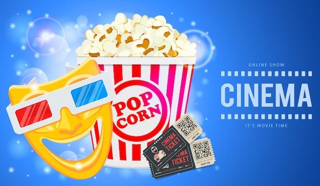 Tempo di cinema e film banner con icone popcorn, maschere, occhiali 3d e biglietti. illustrazione Vettore Premium