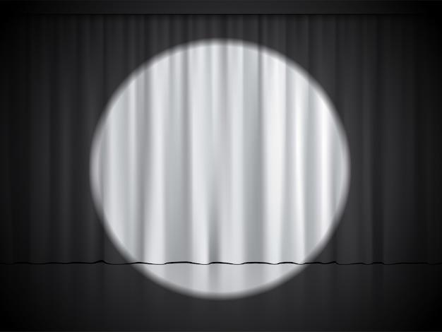 Palcoscenico di cinema, teatro o circo con riflettori su tende bianche. Vettore Premium