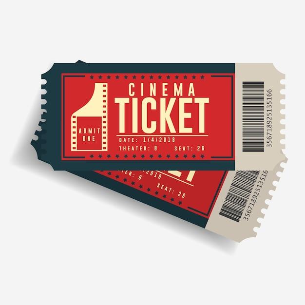 Icona del biglietto del cinema, coppia di biglietti di cartone di film, spettacolo di intrattenimento coupon di carta retrò, vista dall'alto Vettore Premium