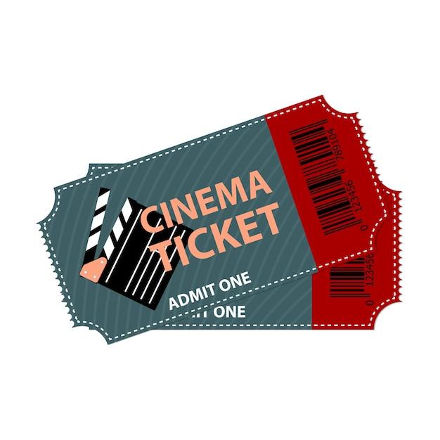 Biglietto del cinema isolato. concetto di design del coupon di film. Vettore Premium