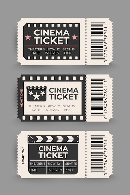 Set di biglietti del cinema isolato su sfondo grigio. Vettore Premium
