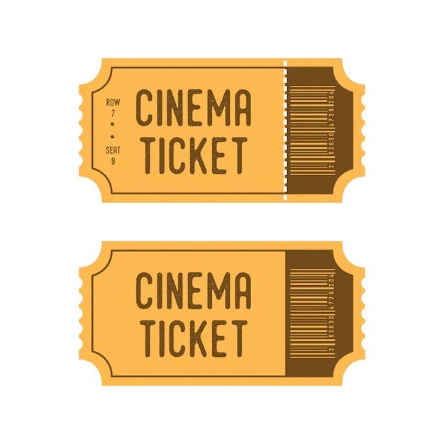 Biglietti del cinema in stile retrò dei cartoni animati Vettore Premium