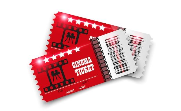 Biglietti del cinema isolati su sfondo trasparente. biglietto d'ingresso al cinema realistico. Vettore Premium