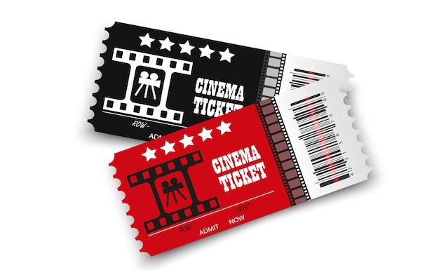 Biglietti del cinema isolati su sfondo trasparente biglietto d'ingresso al cinema realistico Vettore Premium