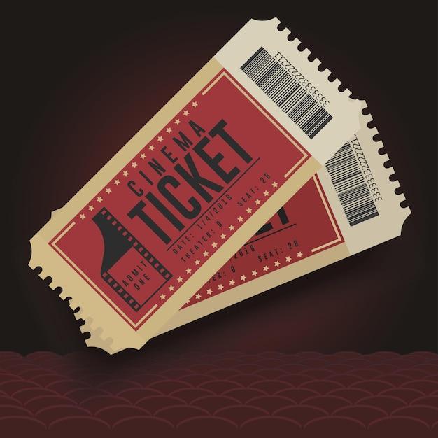 Biglietti del cinema. icona del biglietto del cinema, coppia di biglietti di cartone, spettacolo di intrattenimento. Vettore Premium