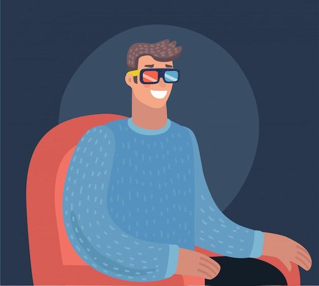 Tempo di cinema. guardare film in casa. illustrazione del fumetto. divano rosso. web, banner e logo. popcorn, cola e occhiali 3d. stile vintage. cibo e bevande. uomo felice. Vettore Premium