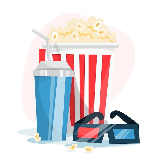 Concetto di banner web cinema. pop corn, pellicola, batacchio Vettore Premium