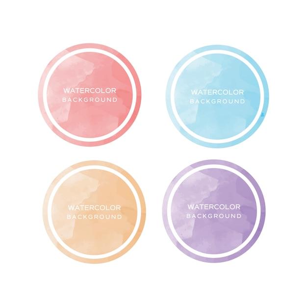 Elementi dell'acquerello di raccolta del cerchio Vettore Premium