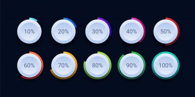 Icona di caricamento percentuale del cerchio Vettore Premium