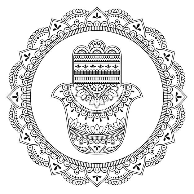 Modello circolare in forma di mandala per henné, mehndi, tatuaggio, decorazione. ornamento decorativo in stile orientale. Vettore Premium