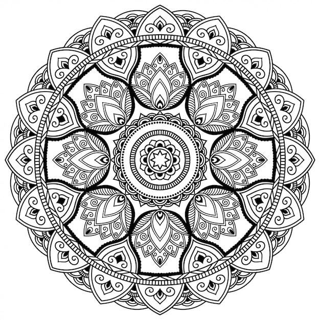 Modello circolare a forma di mandala con fiore per henné, mehndi, tatuaggio, decorazione. ornamento decorativo in stile etnico orientale. illustrazione di tiraggio della mano di doodle del profilo. Vettore Premium