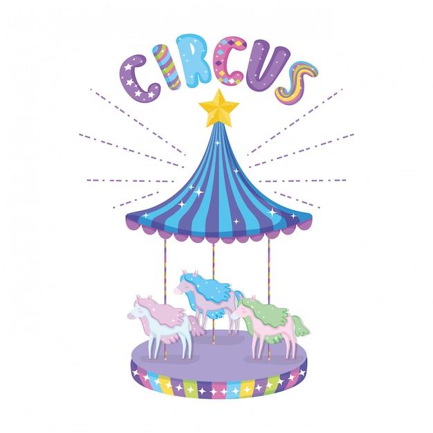 Icona della scena del carosello del circo Vettore Premium