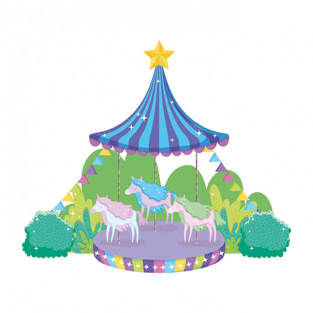 Scena del carosello del circo nel paesaggio Vettore Premium