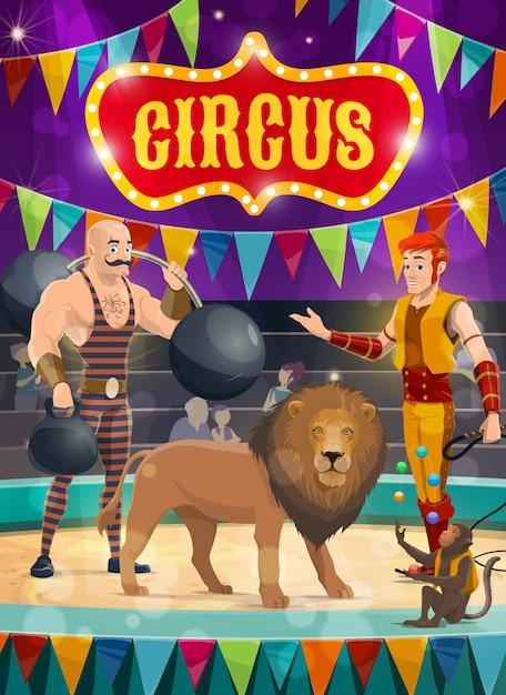 Artisti di poster di circo uomo forte, domatore Vettore Premium