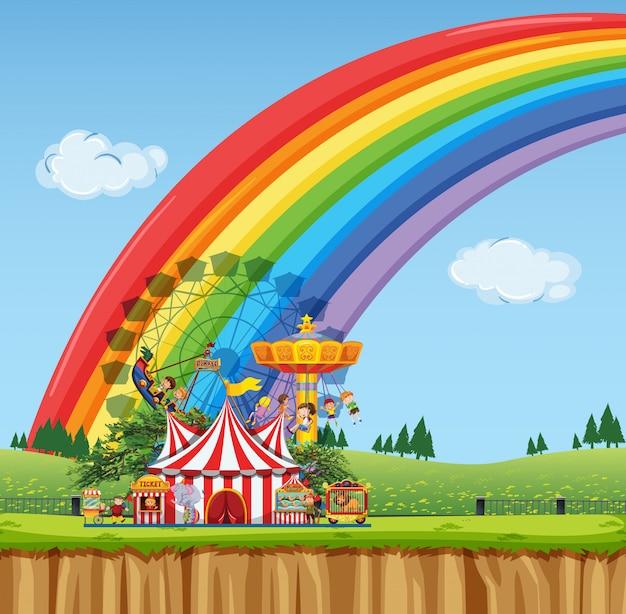 Scena da circo con tenda e molte giostre Vettore Premium