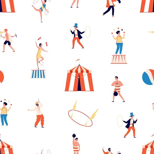Modello senza cuciture del circo. spettacolo folle. personaggi di clown e mago, giocoliere e bilanciatore e ginnasta. Vettore Premium